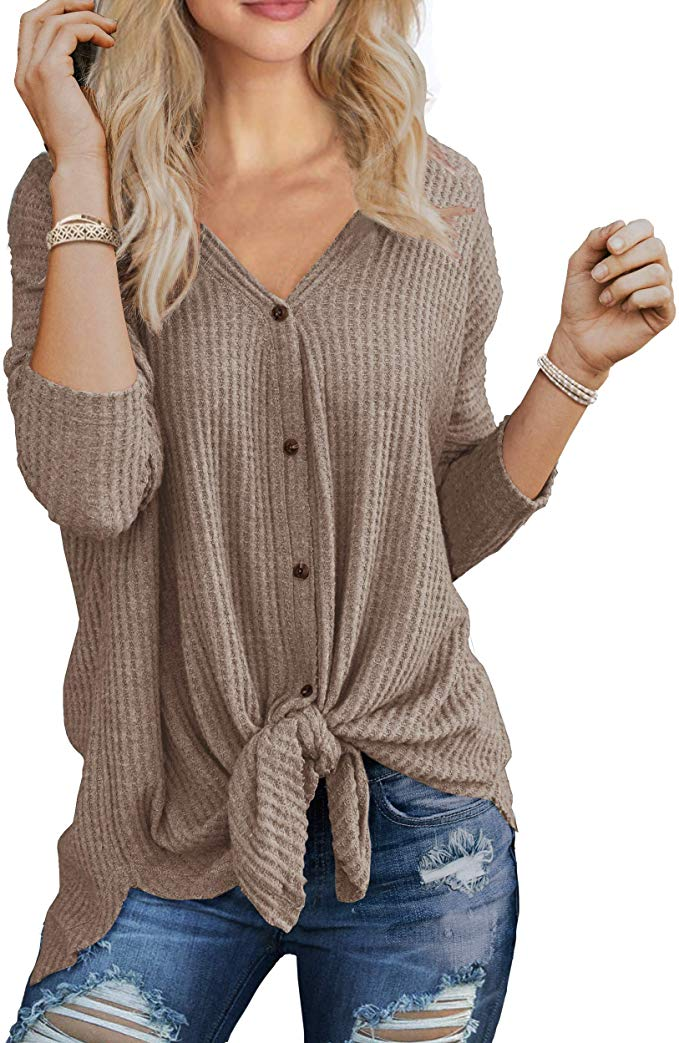 Knotted Waffle-Knit Henley Sweater    Fall Outfit Ideas: 30+ Must-Haves For Your Autumn Wardrobe