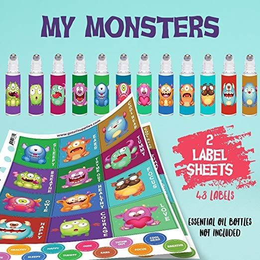 Monster Roller Bottle Labels for Kids   The Ultimate Guide to Essential Oil Accessories