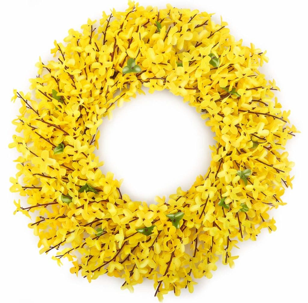 yellow door wreath for spring | Spring Decor Ideas for Your Home