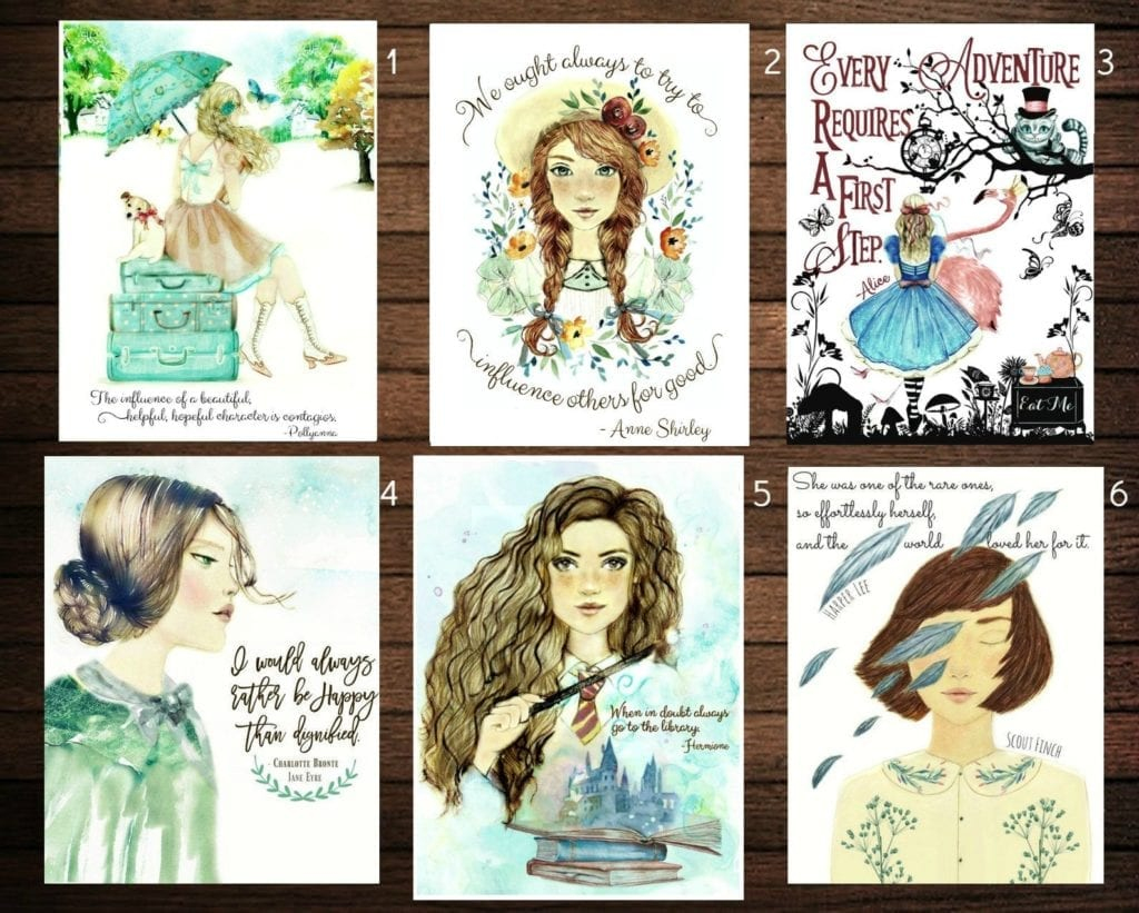 Book Heroine Postcards   Gifts for Book Lovers: The Ultimate Guide