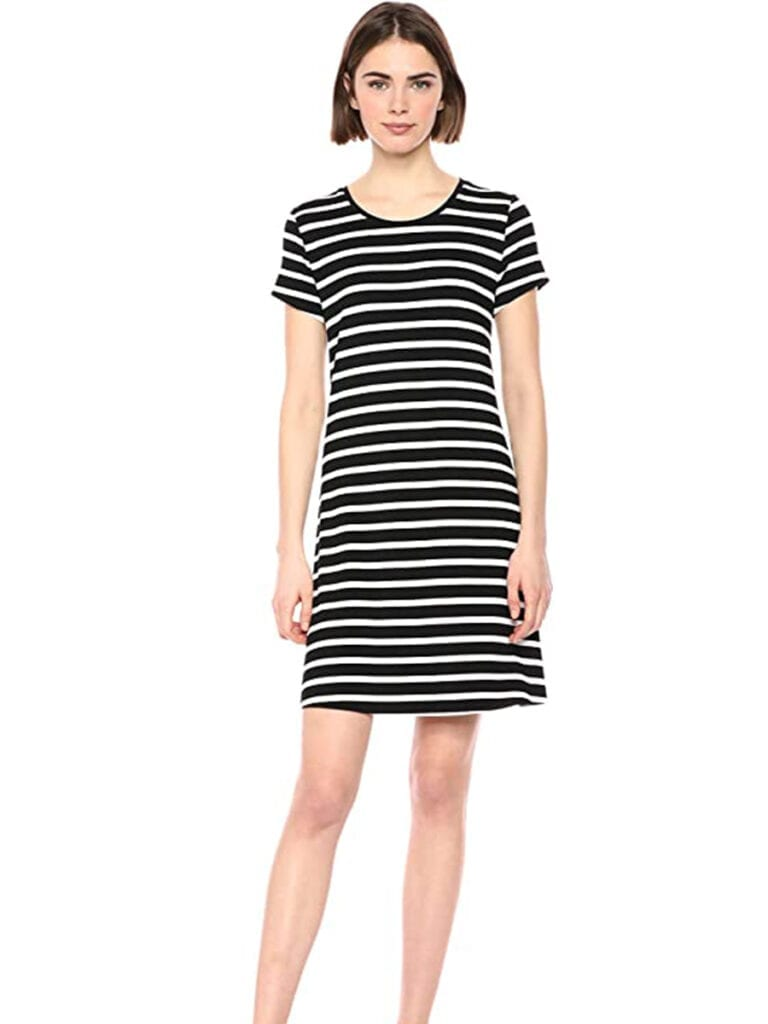 Short Sleeve Striped T-Shirt Dress   Must-Have Casual Summer Dresses Under $50
