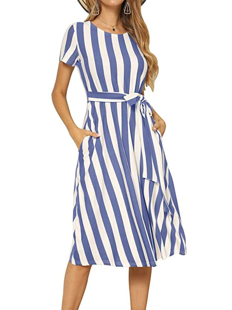 Striped Short Sleeve Midi Dress   Must-Have Casual Summer Dresses Under $50