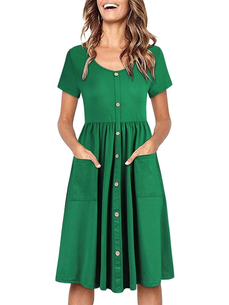 Button-Down Midi Skater Dress with Pockets   Must-Have Casual Summer Dresses Under $50