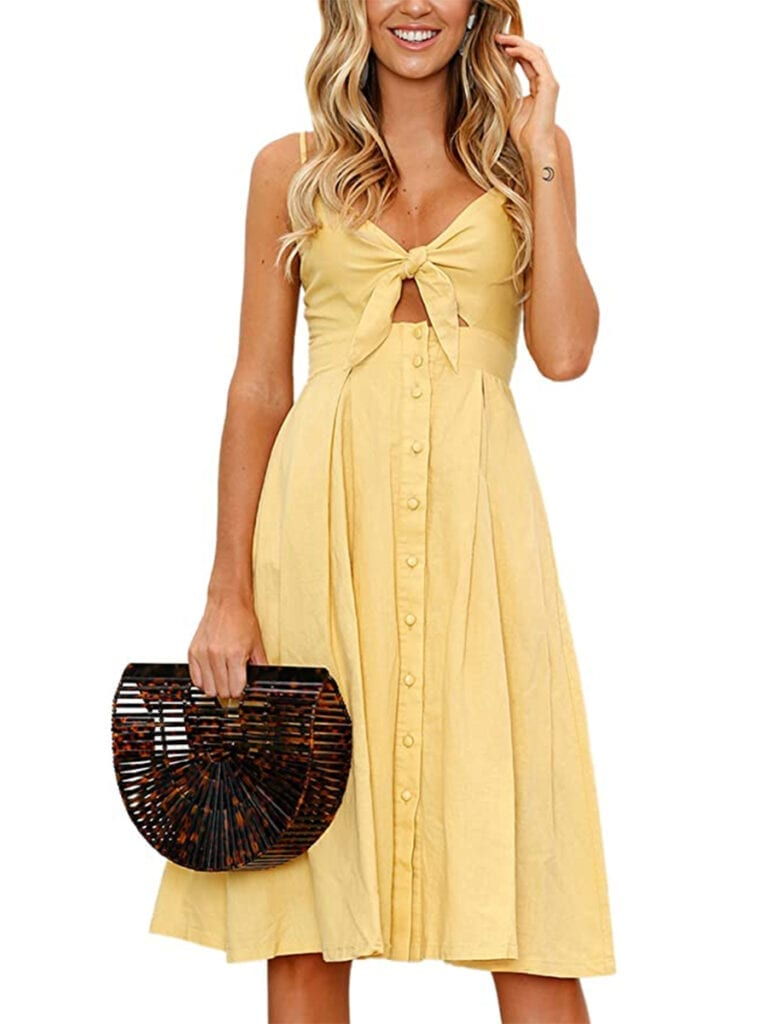 Tie-Front, Button-Down Midi Dress   Must-Have Casual Summer Dresses Under $50