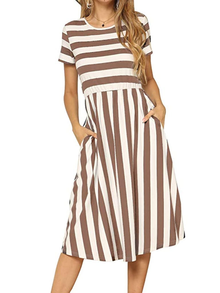 Short Sleeve Striped Midi Dress   Must-Have Casual Summer Dresses Under $50