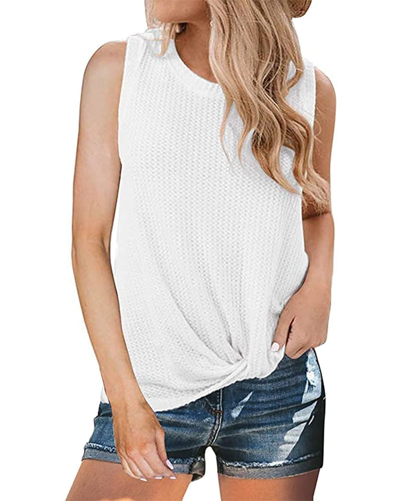 Waffle Knit Knotted Tank Top   Comfy Work From Home Wardrobe Essentials   The Basic Housewife