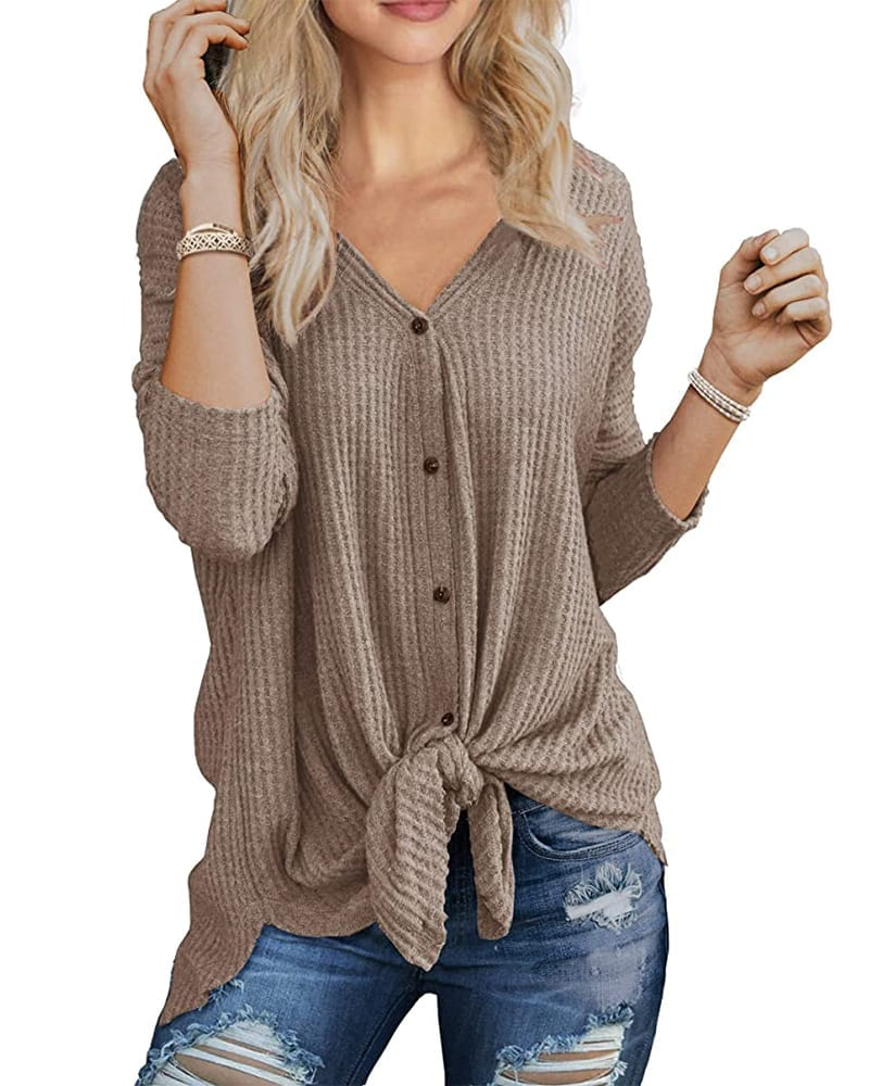 Waffle Knit Button-Down Tunic Shirt   Comfy Work From Home Wardrobe Essentials   The Basic Housewife