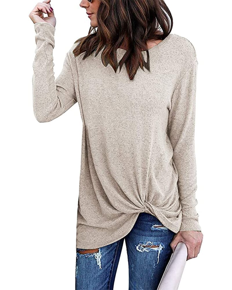 Long Sleeve Knotted Tunic Shirt   Comfy Work From Home Wardrobe Essentials   The Basic Housewife