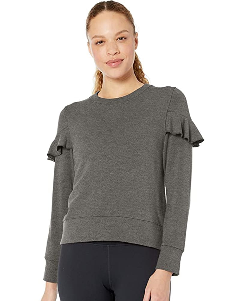 Fleece Ruffle Sleeved Pullover Sweater   Comfy Work From Home Wardrobe Essentials   The Basic Housewife
