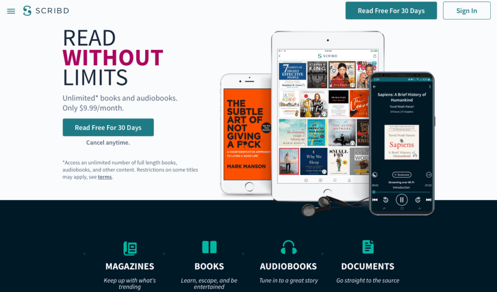 30-Day Free Trial With Scribd | Scribd: An Honest Review of the Best Audiobook App and Audible Alternative