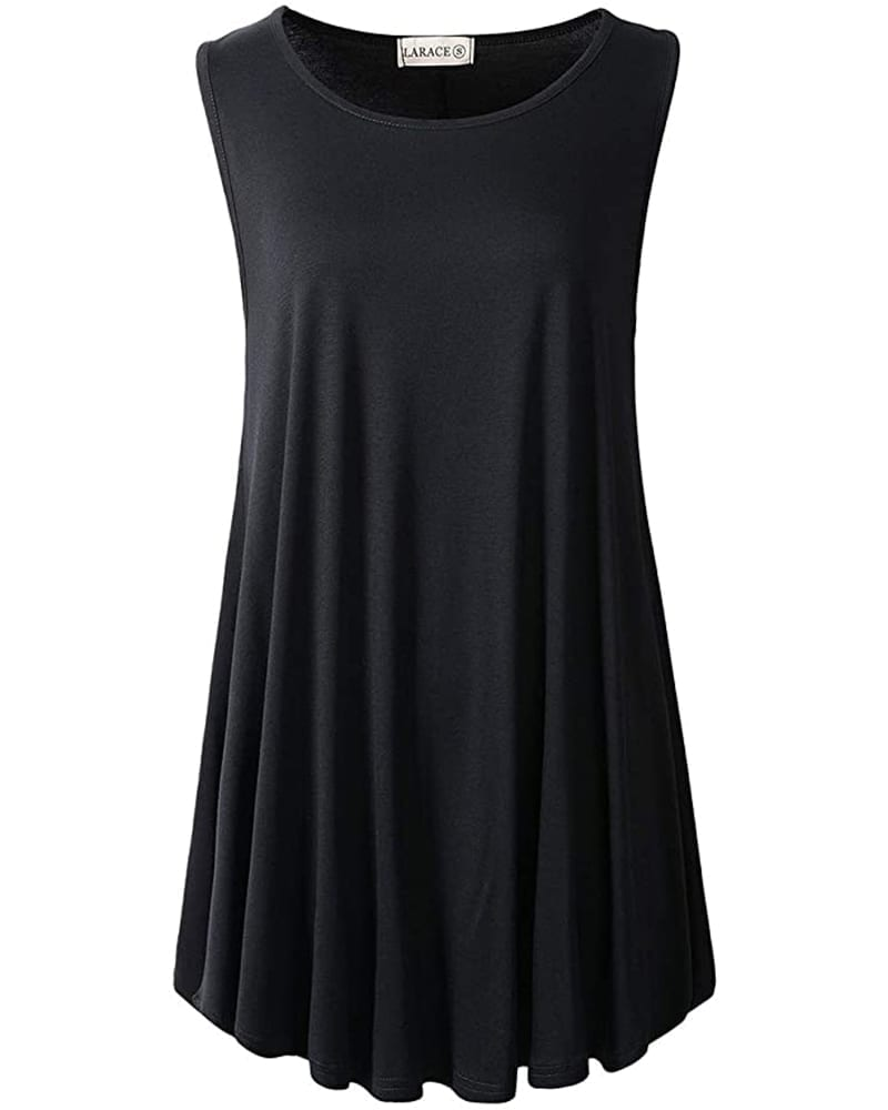 Long Sleeveless Flared Tunic Tank Top   Comfy Work From Home Wardrobe Essentials   The Basic Housewife