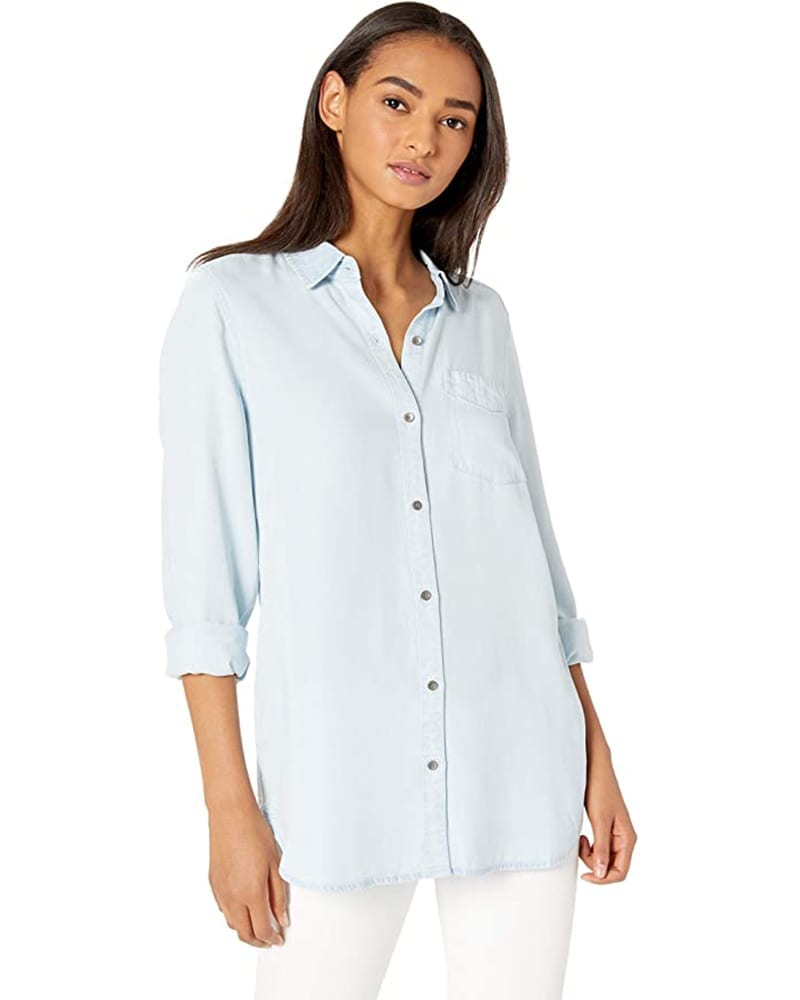 Tencel Long Sleeve Button-Up Tunic Shirt   Comfy Work From Home Wardrobe Essentials   The Basic Housewife