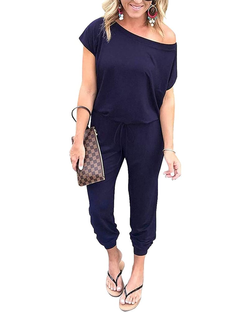 Stretchy off-shoulder jumpsuit   Comfy Work From Home Wardrobe Essentials   The Basic Housewife