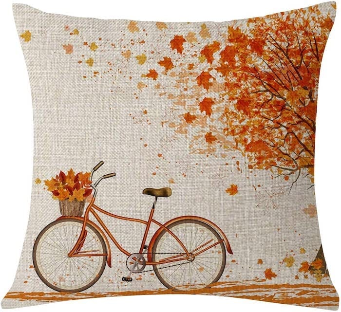 Autumn Bicycle Scene Pillow Cover