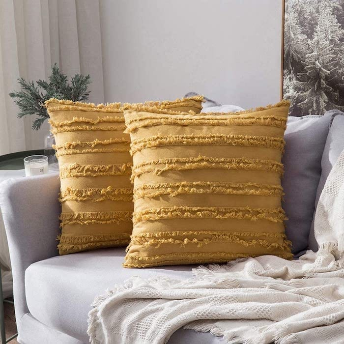 Boho Fringe Yellow Pillow Covers for Fall