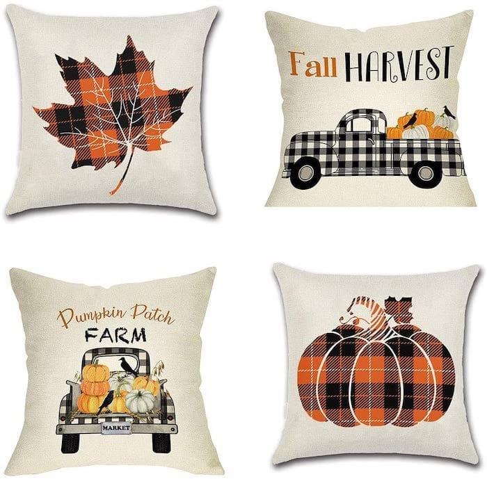 Orange and Black Plaid Fall Pillow Covers