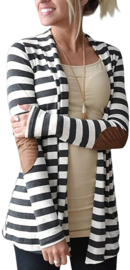 Striped Cardigan with Elbow Patches    Fall Outfit Ideas: 30+ Must-Haves For Your Autumn Wardrobe