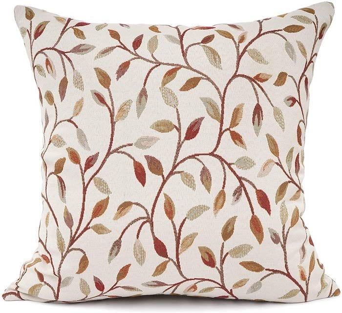 Embroidered Leaf Pattern Pillow Covers for Fall