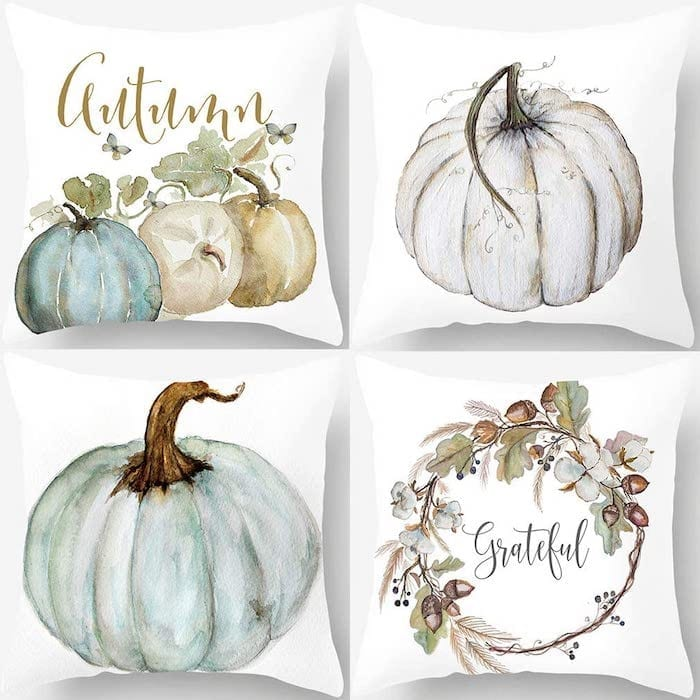 Watercolor Pumpkin Pillow Covers for Fall