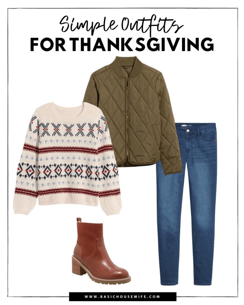 A casual and cool fall outfit idea for your thanksgiving outfits.