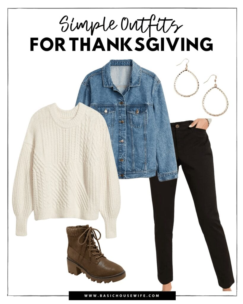 A casual and easy thanksgiving outfit idea.