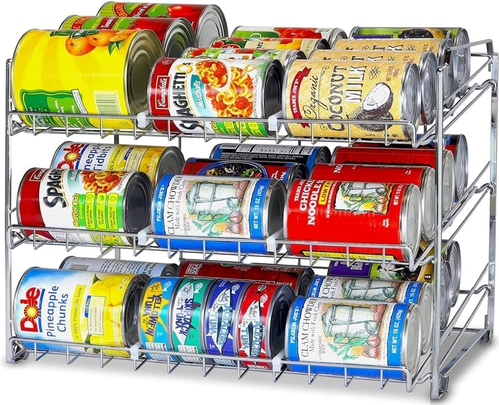 A stackable can rack for your pantry organization.