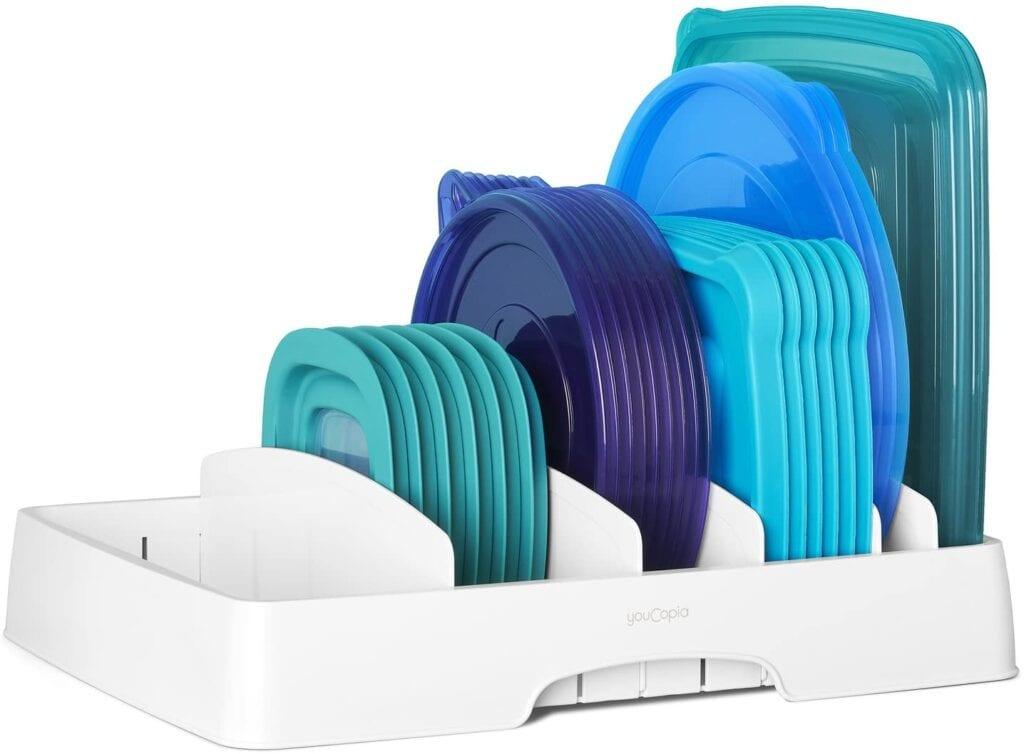 Lid organizer for food containers.