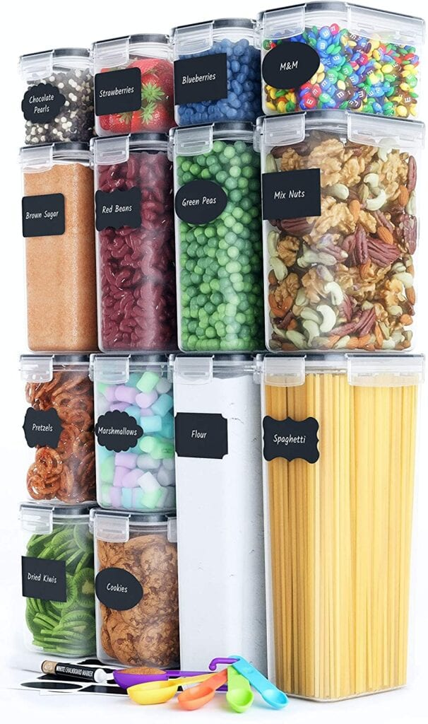 Airtight food containers for your pantry organization.