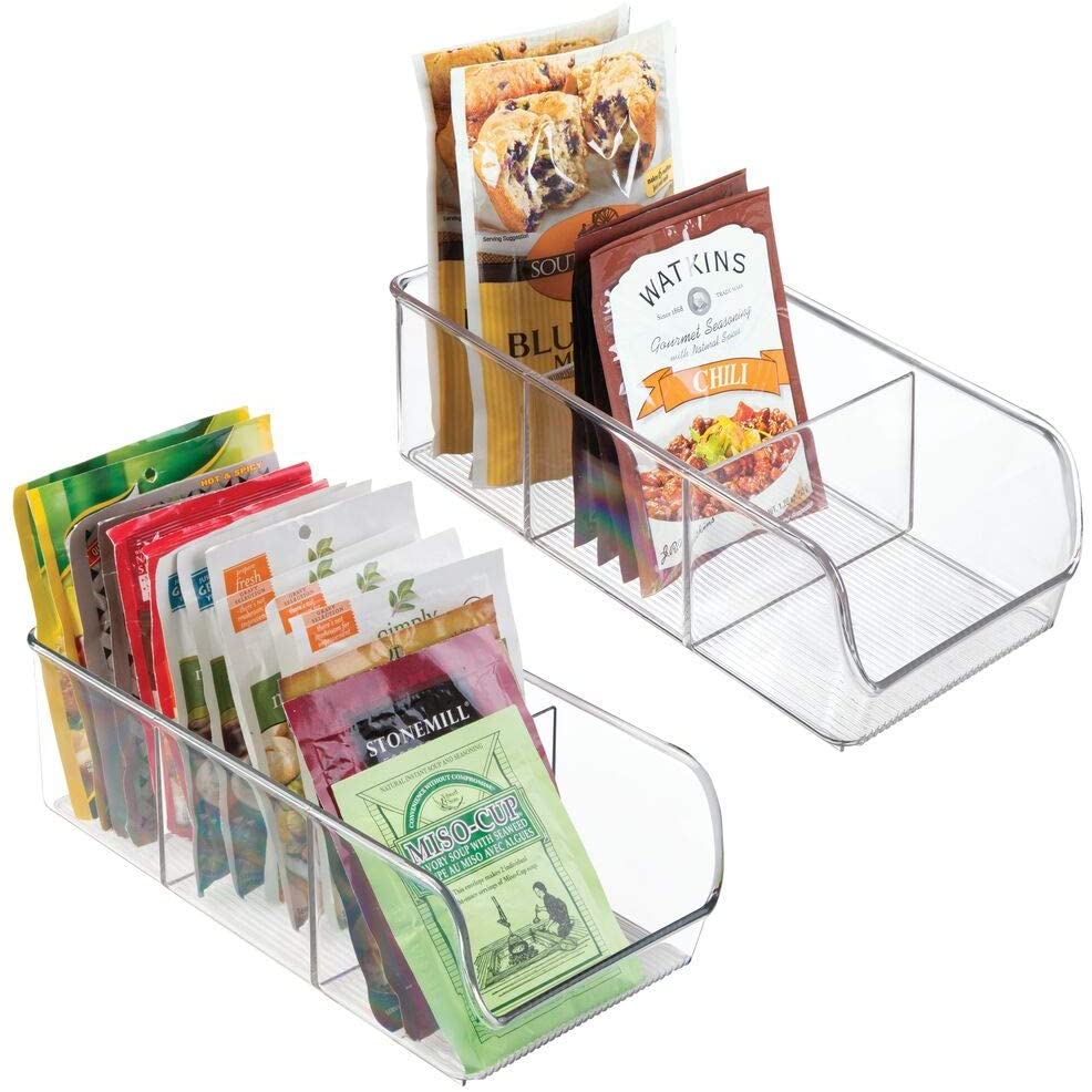 Organize your pantry with these plastic food packet bins.