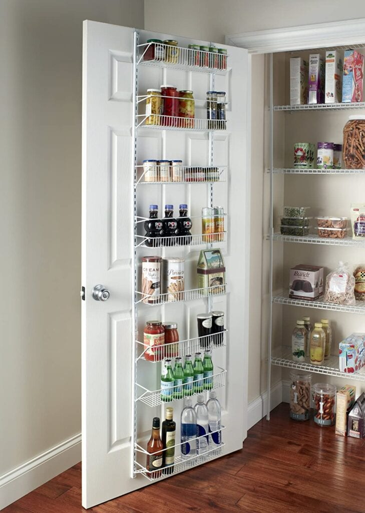 Over the door rack organizer for kitchen or pantry storage.