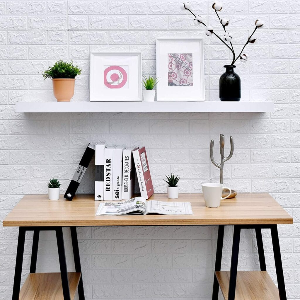 Cloffice Decor Ideas: Wall shelves are a must for closet office storage and decor