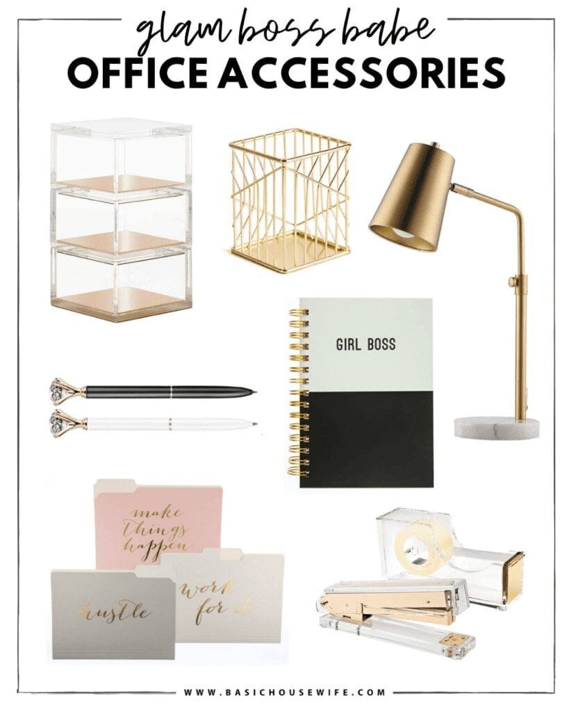 Glam Office Decor & Gold Desk Accessories   The Cutest Home Office Accessories for Your Style