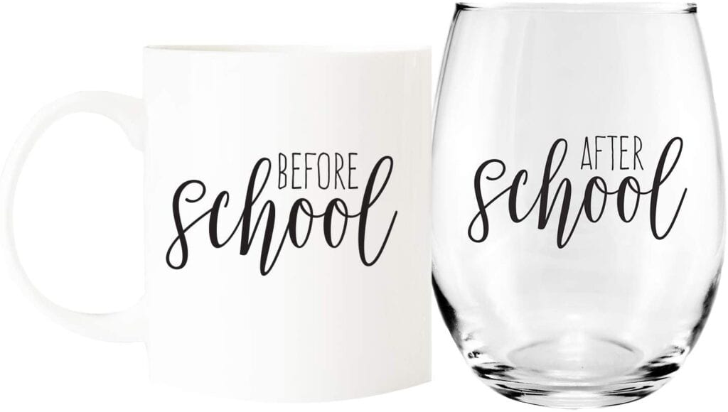 Coffee Mug and Stemless Wine Glass Set   Gift Ideas for Teachers That They'll Actually Want