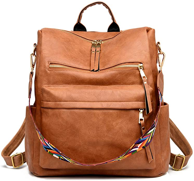 Brown Leather Backpack | Cute Backpacks for Women From Amazon