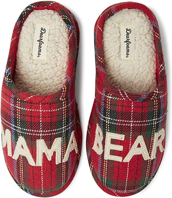 Plaid Mama Bear Slippers   Gifts for Moms