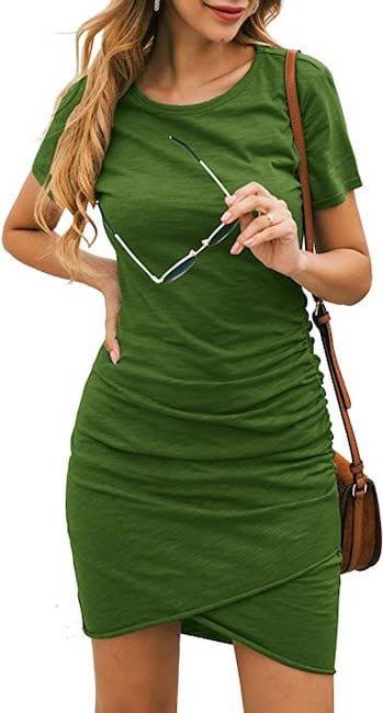 Green t-shirt dress from Amazon Prime Wardrobe | Basic Housewife