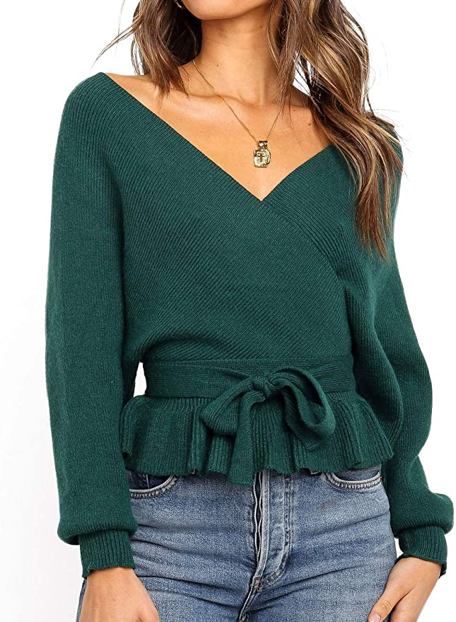 Off-Shoulder Ruffle Hem Sweater   The Best Fall Sweaters Available on Prime Wardrobe