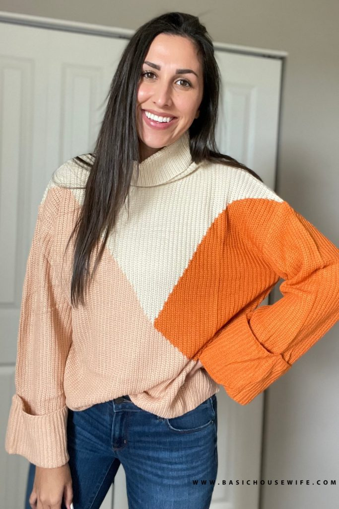Color block fall sweater   Prime Wardrobe HAUL: 7 Amazon Sweaters To Get This Fall