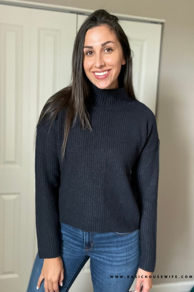 Black mock neck cute fall sweater   Prime Wardrobe HAUL: 7 Amazon Sweaters To Get This Fall